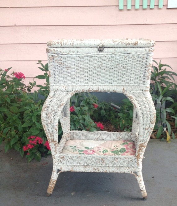 Victorian Sewing Basket Table White Pink And Green Sewing