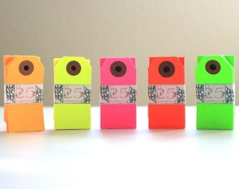 100 Neon Gift Tags - in the color of your choice - Mini