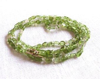 Peridot necklace -  green bracelet or necklace - gold necklace- H A L E Y 123