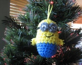 Minions Crochet Mini Ornaments -Inspired by Despicable me--Set of three - Valentines Day