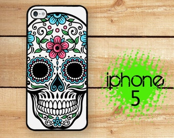 iPhone 5  iPhone 5S Sugar Skull  | Hard Case for iPhone 5 Plastic or Rubber Trim