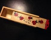Handpainted Ladybug Wooden Retro Slide-top Pencil Box