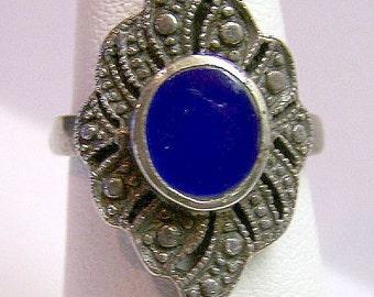 Lapis Ring Vintage Sterling Silver