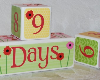 DELUXE DESIGN . Baby Age Blocks . Photo Blocks . Personalized Blocks . Yellow Green Pink with Poppies