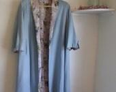 Vintage 1960s Floral satin lined spring overcoat, lightweight linen jacket