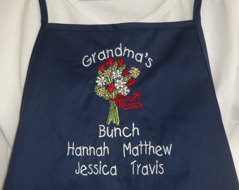 Personalized Grandma's Bunch Apron Navy Apron Embroidered Apron