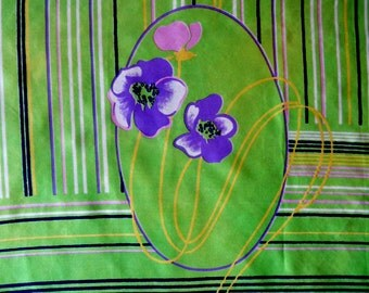 Vintage Scarf Floral Stripe Abstract Lime Green Navy Purple Pink Square 1970s