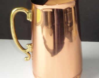 Vintage  Solid Copper and Brass Old Dutch International Pitcher.