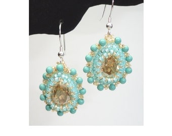 "Kit: ""God, Love Her"" Bead Embroidered Earrings, Jade Colorway"