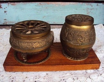 Vintage Mid Century Brass Inkwell Desk Set Writing Set with Wood Tray