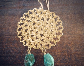 Gold filagree earrings with turquoise dangle
