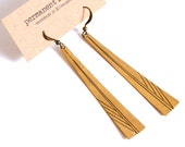 Feather Earring on Golden Brass Dangle Hand Scribed Geometric Lines