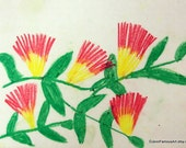 Flowering Mimosa tree Original Art 8x10 Print from oil pastel flower drawing