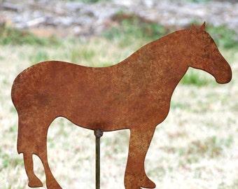Horse garden stake - Garden horse art - Flowerbed stallion - Ranch artwork - Rustic metal horse art - Rusty horse stake - Iron garden stake