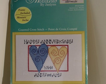 Happy Anniversary Hearts Counted Cross Stitch Kit