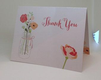 30% OFF Folded Mason Jar Thank You Cards. A2 Blush Mason Jar Cards with Green Envelopes. Thank You Cards. Mason Jar Cards. Jar Thank You's