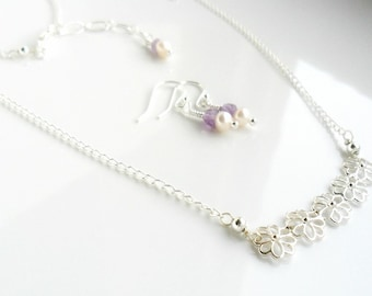 Flower bar Necklace Gemstone Pearl bridesmaid gift set / Delicate Sterling Silver Necklace Simple Minimal Everyday Necklace and Earring set