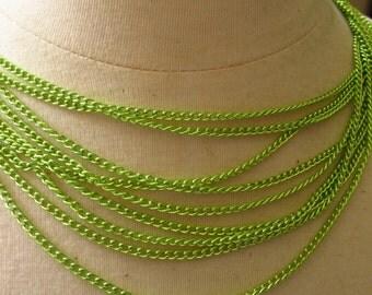 Lime Green Aluminium 4mm by 3mm Curb Chain 3 feet (91cm)