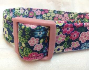 Pink Blue Flowers Girl Dog Collar