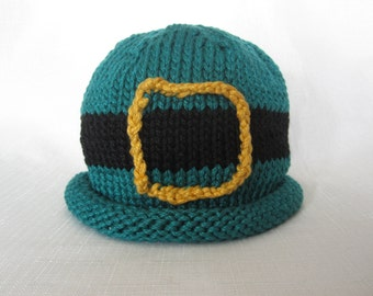 READY TO SHIP Boston Beanies Irish Leprechaun Hat, Knit Cotton Baby Hat great photo prop