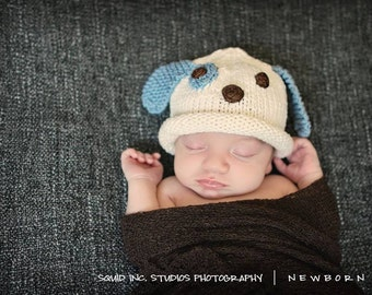 Puppy Dog Hat, Knit Cotton Baby Hat, great photo prop