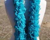 Teal Blue Lace Ruffle Scarf