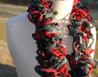 Black, Red, and Grey Ruffle Scarf, Crochet Ruffle Scarf, Elegant Ruffle Scarf