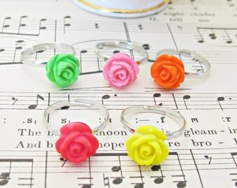 Neon Girl's Ring Set Fluorescent Children Flower Trio Orange Pink Yellow Red Green Girls Tweens. Party Favour Botanical Floral Jewellery