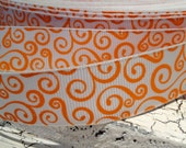"7/8"" ORANGE HALLOWEEN Swirl Loops Orange on White Grosgrain Ribbon sold by the yard"
