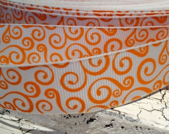 "7/8"" ORANGE HALLOWEEN Swirl Loops Orange on White Grosgrain Ribbon sold by the yard"