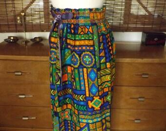 Vintage 60s Neon Tribal print Midi Skirt M