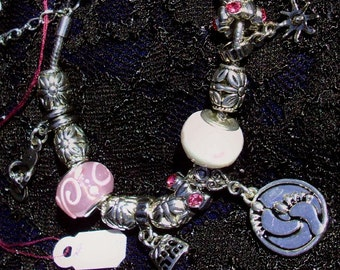 HANG TEN Bracelet -  beads, Charms, Thong, Starfish, Beach Purse , Soo Cute!  New Summer Collection, RedRobinArt, Grigsby Gallery and Gifts