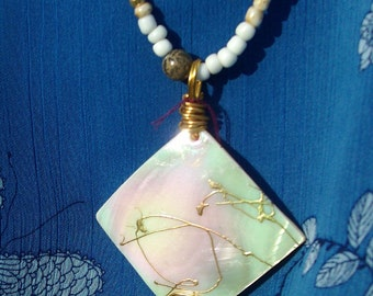 HOT ITEM Sale!  LONG Shell Necklace - Gorgeous Ooak, long, Diamond Abalone shell, Beach necklace,Summer collection,Gift for her,RedRobinArt