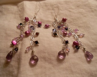 Razzle Dazzle Stripper Tassels with matching Clit Clip in Silver with Purple Gems and Pearls