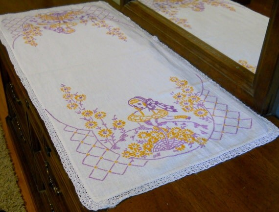 Vintage hand embroidered dresser scarf by luvvinjewels on etsy