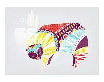 Nursery Art Animal Art Children, Baby Room Art, Mrs Bear, Animal Art Print, Illustration