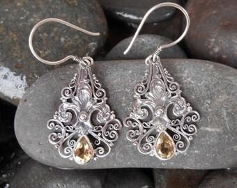 Balinese Sterling Silver Citrine Dangle Earrings / 1.50 inch long / Bali jewelry / silver 925