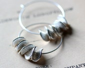 Large Silver Hoop Earrings, Ruffled Silver Earrings, Petals, Summer Fashion Sterling Hoop Earrings Gift Under 30