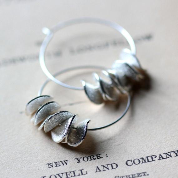 Large Silver Hoop Earrings, Ruffled Silver Earrings, Petals, Summer Fashion Sterling Hoop Earrings Gift Under 30