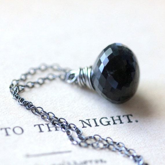 Black Gemstone Necklace Cat's Eye Sillimanite Wire Wrapped in Sterling Silver - Inkling - Dark Fashion Trends