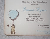 Winnie the Pooh Shower Invitation - Blue Balloon - Birthday - Boy Party - Christening - Baptism - Set of 10
