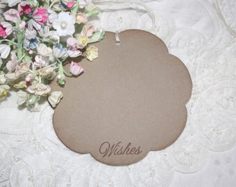 Wish Tree Wedding Tags - Soft Brown Flowers - Birthday Wish Tags - Shower Wish Tags