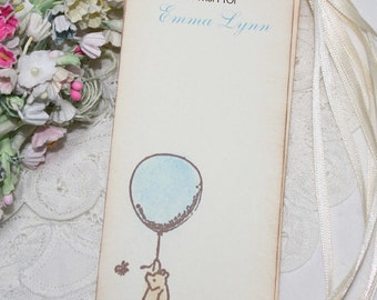 Personalized Winnie the Pooh Baby Shower Wish Tree Tags - Blue Balloon - Baby Boy - Set of 12