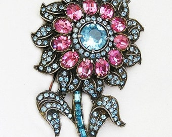Aqua and Pink Art Deco Flower Brooch