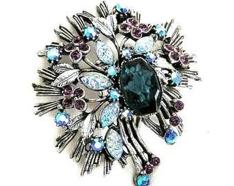 Florenza Blue Cloud Brooch, Blue Art Glass Florenza Brooch