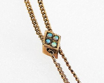 Victorian Long Chain Necklace With Fiery Opals c.1890