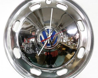 Retro Wall Clock made from a Volkswagen Hubcap and Trim Ring - VW Beetle - Volkswagon Bug - Chrome Bus Hub Cap