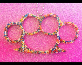 Life-Size Sprinkle Brass Knuckle Necklace - SALE
