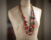 Valentines day gifts---Fiber jewelry--Unique colorful necklace--Recycled tricot -Handmade- art necklace---amazing gift