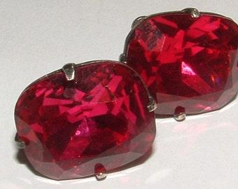 SALE-------BRILLIANT BEAUTIFUL ruby rhinestone earrings- high facets- sterling screwbacks-huge stones